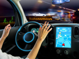 cockpit of autonomous cars. self driving vehicle hands free driving.